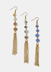 Bead & Tassel Drop Earrings