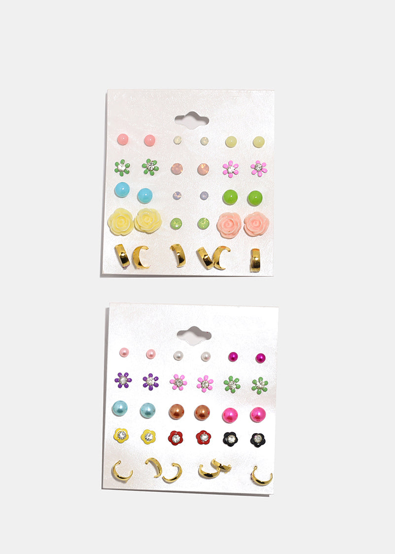 15 Pair Rose & Flower Stud Set