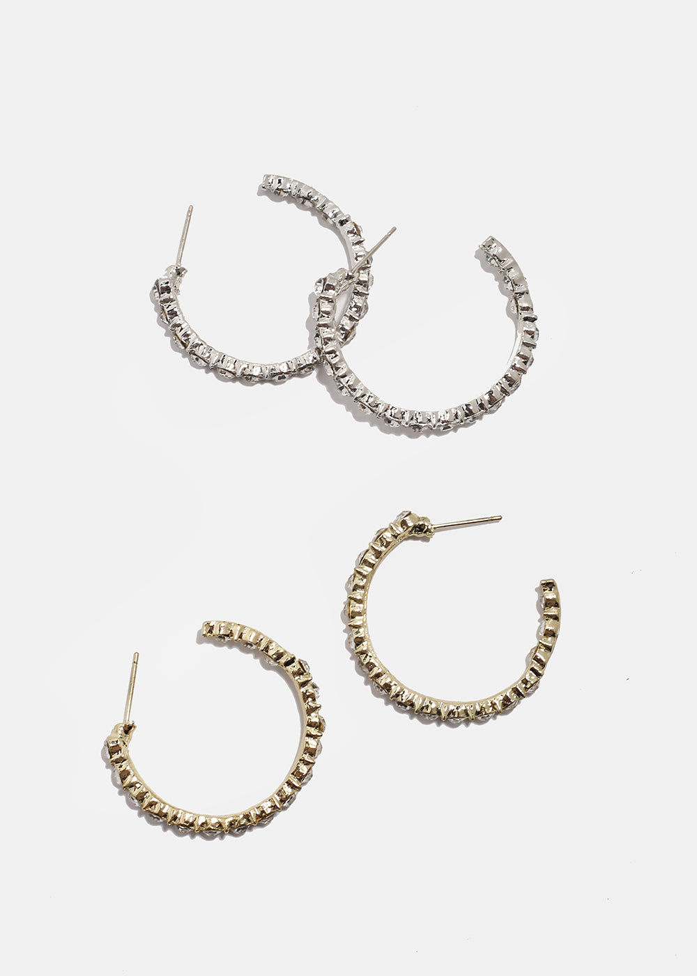 Rhinestone Open Hoop Earrings