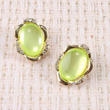 Brilliant Oval Gem Earrings