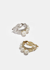 Triple Pearl Clip-On Earrings