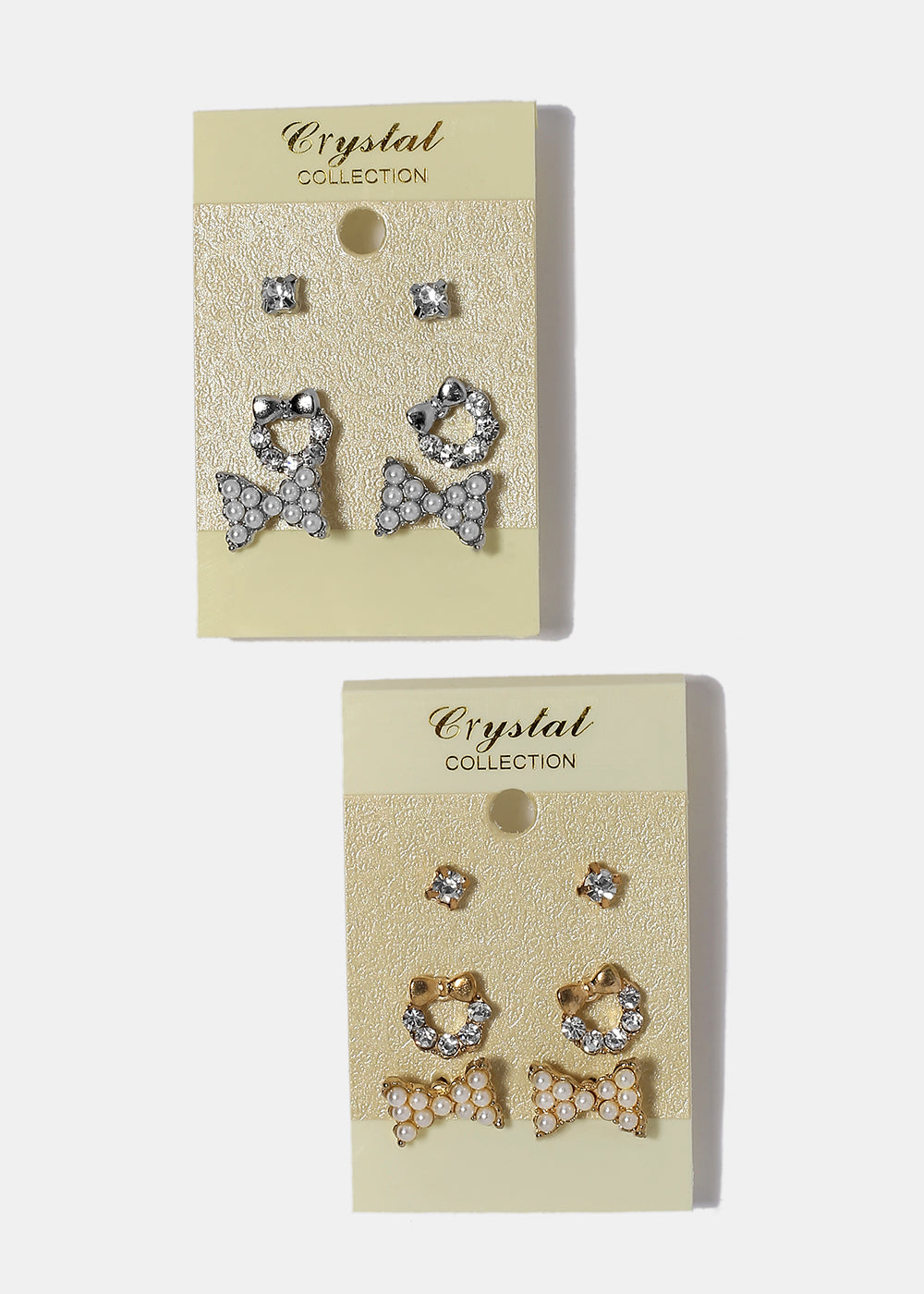 3 Pair Dainty Pearl Bow Stud Set