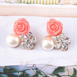 Rose Cluster Accent Earrings