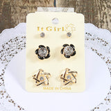 Star & Flower Stud Earrings (3 Pair)