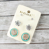 3 Pair Enamel Gem Stud Earring Set
