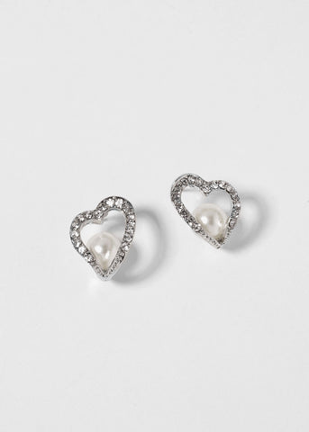 Crystal Heart Earrings with Pearl