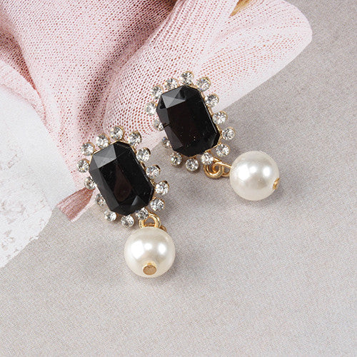 Regal Gem & Pearl Drop Earrings