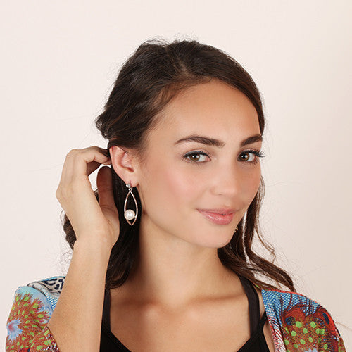 Almond Shaped Earrings with Pearl