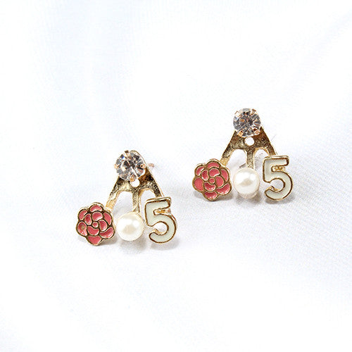 #5, Flower, & Pearl Earrings