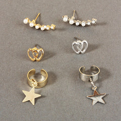 3 Piece Star Dangle Ear Cuff Set
