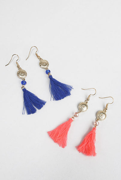 Shield Tassel  Earrings