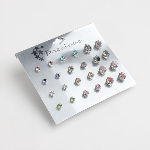 12 Pair Color Rhinestone Earring Set