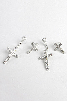 Diamond Cross Double Earrings