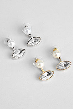 Pearl & Rhinestone Front Back Earrings