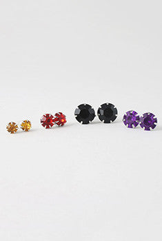 12 Pair Colored Rhinestone Earring Set