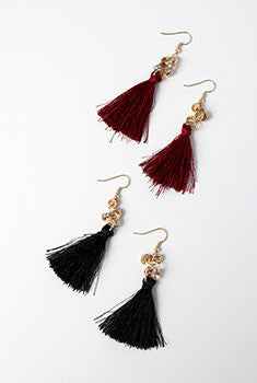 Rhinestone Loops and Tassel Earrings
