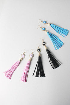 Evil Eye Tassel Earrings