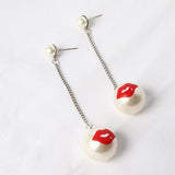 Hot Lips Pearl Drop Earrings