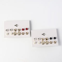 6 Pair Mixed Stud & Heart Set