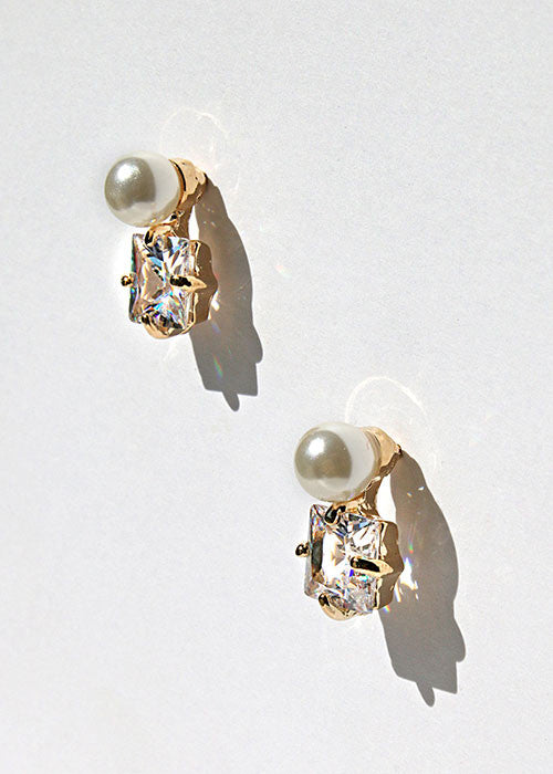 Square Gem & Pearl Earrings