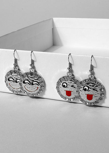 Silver Emoji Medallion Earrings