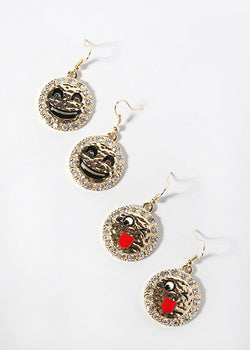 Gold Emoji Medallion Earrings