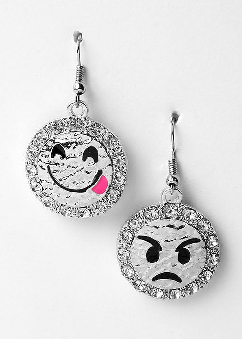 Silver Emoji Bling Earrings