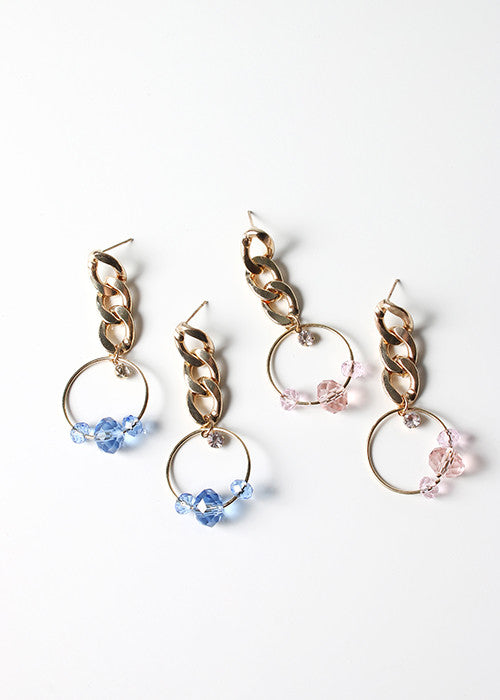 Dangle Chain & Gem Earrings