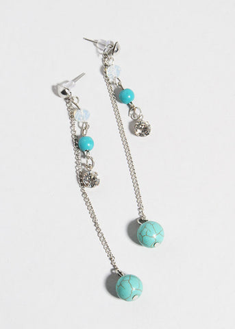 Dangle Chain & Bead Earrings