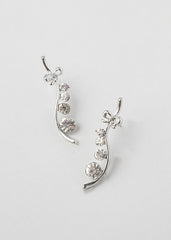 Linear Rhinestone Branch Earrings