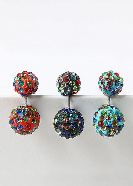 Multicolor Rhinestone Front & Back Earrings