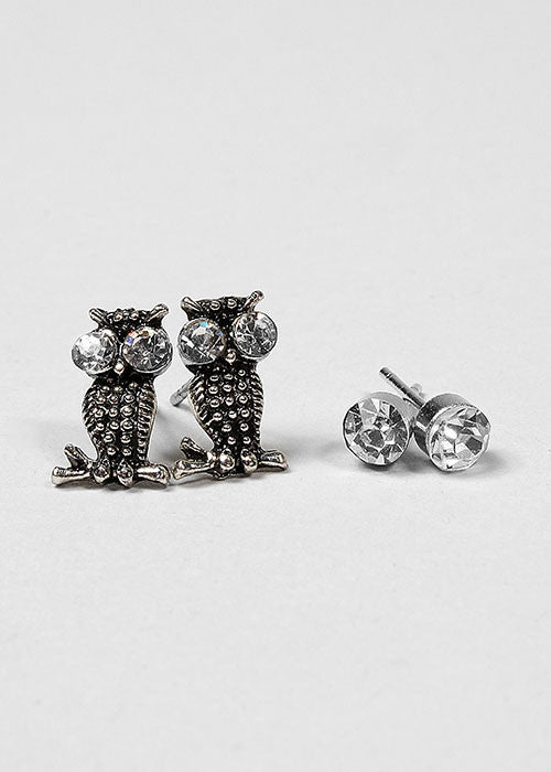 6 Pair Owl & Flower Stud Set