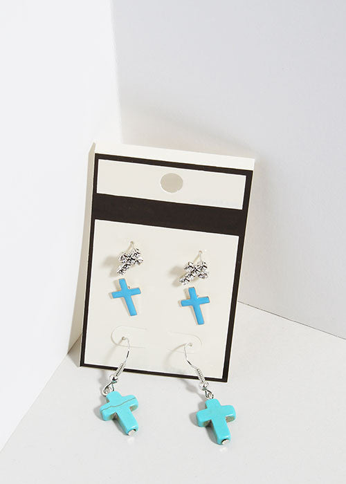 3 Pair Cross Earrings Set
