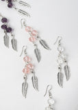 Feather & Bead Dangle Earrings