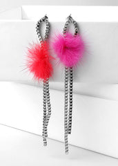 Pom Pom Chain Earrings