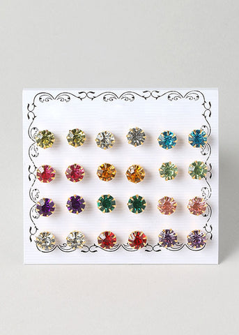 12 Pair Multi Color Rhinestone Studs