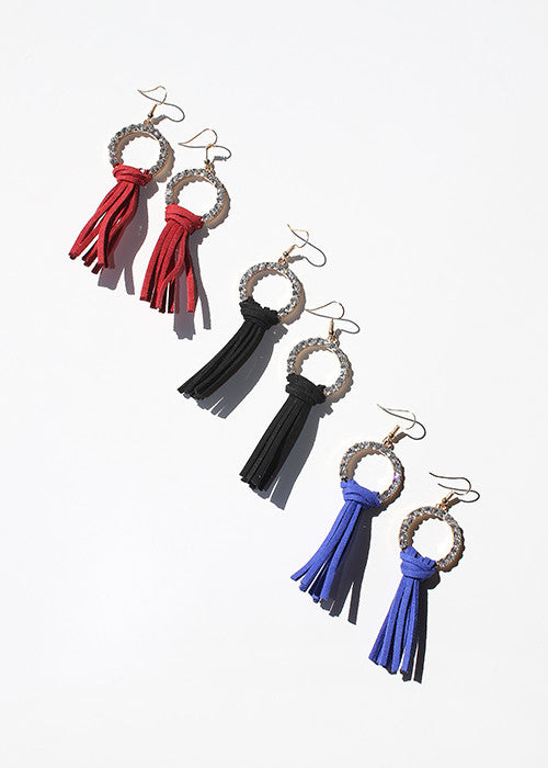 Rhinestone Circle & Tassel Dangle Earrings