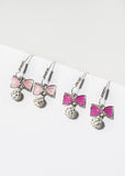 Bow & Glitter Ball Dangle Earrings