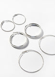 3 Pair Silver Textured Hoop Earrings