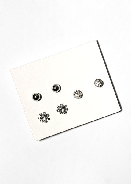 3 Pair Rhinestone Flower Stud Set