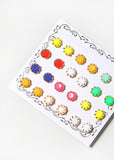 12 Pair Multi-Color Stud Set