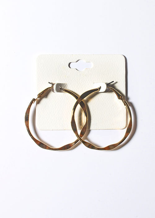 Gold Flat Wave Hoop Earrings