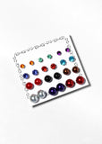12 Pair Rhinestone & Metallic Ball Stud Set