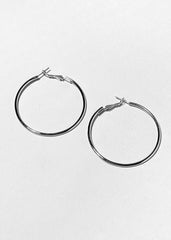 "Small 2"" Silver Hoop Earrings"