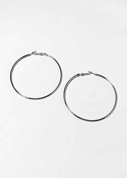 "Large 3"" Silver Hoop Earrings"