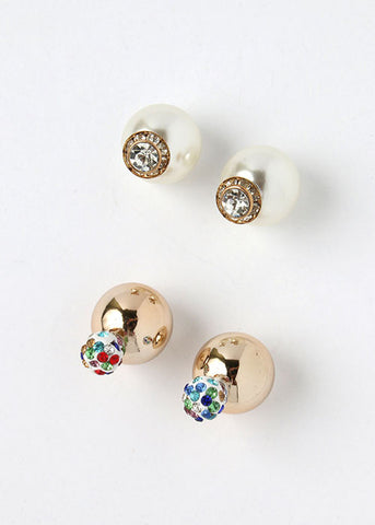 Rhinestone Accented Front & Back Studs