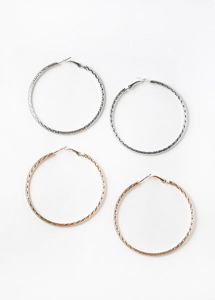 Textured Glitter Hoop Earrings