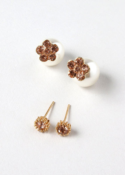 2 Pair Rhinestone Flower Stud Set