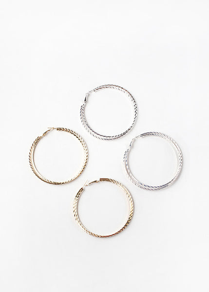 Flat Textured Hoop Earrings