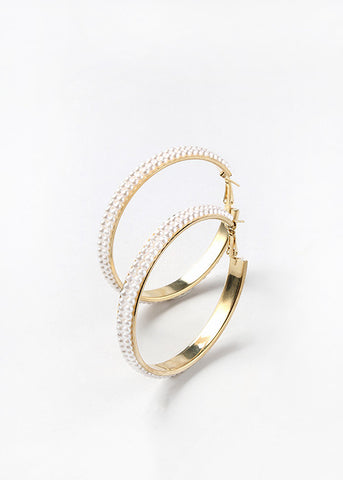 Double Lined Pearl Hoops